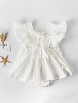 Недорогие -3 предмета малыш Девочки Активный / Изысканный Белый Однотонный Бант Без рукавов Bodysuit Белый