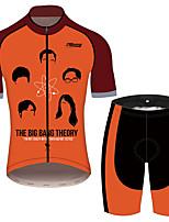 Недорогие -21Grams Теория большого взрыва Муж. С короткими рукавами Велокофты и велошорты - Черный / красный Велоспорт Наборы одежды Дышащий Влагоотводящие Быстровысыхающий Виды спорта 100% полиэстер