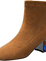 Недорогие -Жен. Ботинки На толстом каблуке Круглый носок Эластичная ткань Зима Черный / Желтый