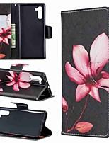 Недорогие -Кейс для Назначение SSamsung Galaxy Note 9 / Note 8 / Galaxy Note 10 Кошелек / Бумажник для карт / Защита от удара Чехол Цветы Кожа PU