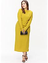 Недорогие -Жен. Классический Прямое Платье - Однотонный, Пэчворк Средней длины