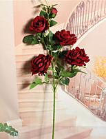 Недорогие -Искусственные Цветы 1 Филиал Односпальный комплект (Ш 150 x Д 200 см) Деревня Простой стиль Розы Букеты на стол