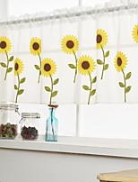 Недорогие -Цветы Semi-Sheer 1 панель Прозрачный Спальня   Curtains
