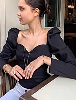 Недорогие -Жен. Блуза Классический Однотонный Черный