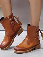 Недорогие -Жен. Ботинки Блочная пятка Круглый носок Полиуретан Ботинки Лето Черный / Коричневый