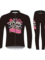Недорогие -21Grams Сахарный череп Жен. Длинный рукав Велокофты и лосины - Розовый / черный Велоспорт Наборы одежды С защитой от ветра Устойчивость к УФ Дышащий Виды спорта 100% полиэстер Горные велосипеды Одежда