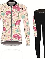 Недорогие -21Grams Цветочные ботанический Жен. Длинный рукав Велокофты и лосины - Розовый / черный Велоспорт Наборы одежды Устойчивость к УФ Дышащий Влагоотводящие Виды спорта Зима Спандекс / Слабоэластичная
