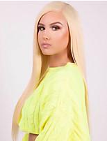 Недорогие -Синтетические кружевные передние парики Прямой / Матовое стекло Kardashian Стиль Средняя часть 6x13 Тип замка / Лента спереди Парик Блондинка Отбеливатель Blonde Искусственные волосы 22-26 дюймовый