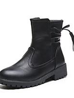 Недорогие -Жен. Ботинки На низком каблуке Круглый носок Полиуретан Наступила зима Черный / Коричневый