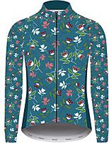 Недорогие -21Grams Цветочные ботанический Муж. Длинный рукав Велокофты - Темно-синий Велоспорт Джерси Верхняя часть Устойчивость к УФ Дышащий Влагоотводящие Виды спорта Зима 100% полиэстер / Слабоэластичная