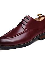 Недорогие -Муж. Кожаные ботинки Полиуретан Лето Туфли на шнуровке Черный / Коричневый / Красный