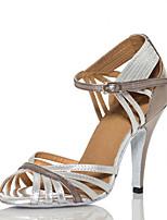 Недорогие -Жен. Полиуретан Обувь для латины Планка На каблуках Тонкий высокий каблук Персонализируемая Серебряный