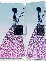 Недорогие -Кейс для Назначение SSamsung Galaxy A6 (2018) / Galaxy A7(2018) / A8 2018 Кошелек / Бумажник для карт / со стендом Чехол Бабочка / Соблазнительная девушка Кожа PU