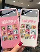 Недорогие -Кейс для Назначение Apple iPhone XS / iPhone XR / iPhone XS Max Зеркальная поверхность / Ультратонкий / С узором Кейс на заднюю панель Слова / выражения / Животное / Мультипликация Закаленное стекло