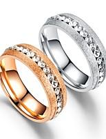 Недорогие -Для пары Кольца для пар Кольцо Хвост 1шт Серебряный Розовое золото Нержавеющая сталь Круглый Винтаж Классический Мода обещание Бижутерия Сердце Сердце