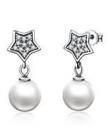 Недорогие -подлинная звезда из серебра 925 пробы&усилитель; серьги-капли с имитацией жемчуга для женщин