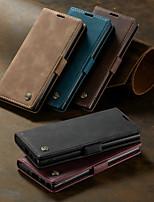 Недорогие -Кейс для Назначение SSamsung Galaxy Galaxy Note 10 / Galaxy Note 10 Plus Кошелек / Бумажник для карт / Защита от удара Чехол Однотонный Кожа PU
