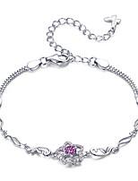 Недорогие -Аутентичные стерлингового серебра 925 цветущий персик омаров рубиновый браслет леди стерлингового серебра ювелирные изделия могут свободно регулировать длину
