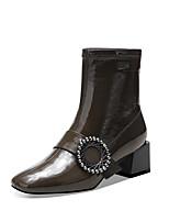 Недорогие -Жен. Ботинки На толстом каблуке Квадратный носок Лакированная кожа Зима Черный / Военно-зеленный
