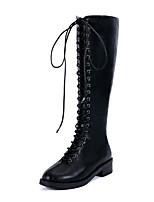 Недорогие -Жен. Ботинки На низком каблуке Круглый носок Полиуретан Наступила зима Черный