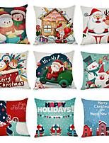 Недорогие -9 штук Лён Наволочка, Животное Мультипликация Рождество Бросить подушку