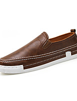 Недорогие -Муж. Комфортная обувь Микроволокно Весна лето Английский Мокасины и Свитер Нескользкий Черный / Коричневый / Серый