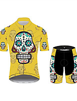 Недорогие -21Grams Сахарный череп Муж. С короткими рукавами Велокофты и велошорты - Черный / желтый Велоспорт Наборы одежды Дышащий Влагоотводящие Быстровысыхающий Виды спорта 100% полиэстер Горные велосипеды