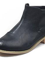 Недорогие -Жен. Ботинки На низком каблуке Круглый носок Полиуретан Ботинки Лето Черный / Коричневый / Серый