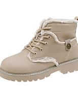 Недорогие -Жен. Ботинки На низком каблуке Круглый носок Полотно Наступила зима Бежевый