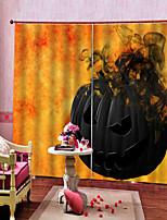 Недорогие -Простые современные мультипликационные шторы страшные тыквы горят дом с привидениями тема 100% полиэстер плотные окна занавес ткани