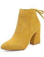 Недорогие -Жен. Ботинки На толстом каблуке Заостренный носок Микроволокно Ботинки Наступила зима Черный / Верблюжий / Желтый