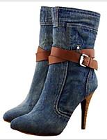 Недорогие -Жен. Ботинки На шпильке Круглый носок Деним Сапоги до середины икры Наступила зима Синий