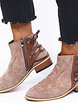 Недорогие -Жен. Ботинки На толстом каблуке Заостренный носок Замша Ботинки Лето Темно-серый / Оранжевый / Коричневый