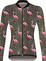 Недорогие -21Grams Фламинго Цветочные ботанический Жен. Длинный рукав Велокофты - Зеленый Велоспорт Джерси Верхняя часть Устойчивость к УФ Дышащий Влагоотводящие Виды спорта Зима 100% полиэстер / троеборье