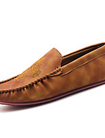 cheap -Men's Fall Daily Outdoor Loafers & Slip-Ons Walking Shoes PU Breathable Wear Proof Dark Grey / Khaki / Brown