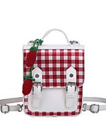 Недорогие -Водонепроницаемость PU Молнии рюкзак Контрастных цветов Школа Белый / Наступила зима