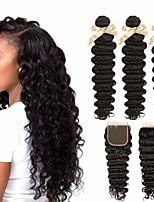 Недорогие -3 комплекта с закрытием Бразильские волосы Крупные кудри Не подвергавшиеся окрашиванию 100% Remy Hair Weave Bundles Головные уборы Человека ткет Волосы Удлинитель 8-20 дюймовый Естественный цвет
