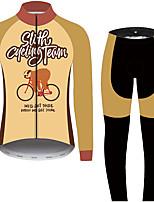 Недорогие -21Grams Животное леность Муж. Длинный рукав Велокофты и лосины - Черный / оранжевый Велоспорт Наборы одежды Устойчивость к УФ Дышащий Влагоотводящие Виды спорта 100% полиэстер Горные велосипеды Одежда