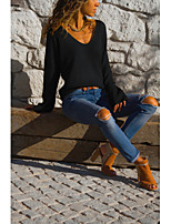 Недорогие -Жен. Блуза Однотонный Черный