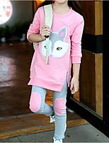 Недорогие -Дети Девочки Уличный стиль Мультипликация Длинный рукав Обычный Набор одежды Розовый