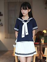 Недорогие -Вдохновлен Косплей Школьницы Аниме Косплэй костюмы Японский Косплей Костюмы / Косплей вершины / дна / Школьная форма Кофты / Юбки / Воротник Назначение Жен.