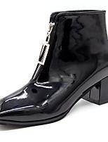 Недорогие -Жен. Ботинки На толстом каблуке Квадратный носок Полиуретан Сапоги до середины икры Минимализм Осень Черный