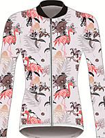 Недорогие -21Grams Фламинго Цветочные ботанический Жен. Длинный рукав Велокофты - Розовый Велоспорт Джерси Верхняя часть Устойчивость к УФ Дышащий Влагоотводящие Виды спорта Зима 100% полиэстер / троеборье
