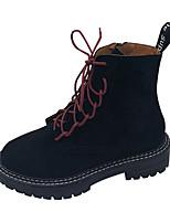 Недорогие -Жен. Ботинки На низком каблуке Круглый носок Замша Наступила зима Черный