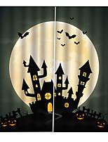 Недорогие -3d цифровая печать на заказ занавес хэллоуин тема луна замок фон шторы утолщение плотные ткани занавес
