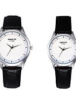 Недорогие -Для пары Нарядные часы Кварцевый Формальный Стильные Натуральная кожа Черный 30 m Защита от влаги Повседневные часы Аналоговый На каждый день Мода - Черно-белый Два года Срок службы батареи