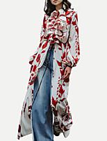 Недорогие -Жен. Уличный стиль Изысканный С летящей юбкой Русалка Платье - Цветочный принт В клетку Макси
