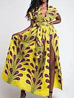 Недорогие -Жен. Классический С летящей юбкой Трикотаж Платье - Геометрический принт Ассиметричное