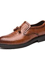 Недорогие -Муж. Кожаные ботинки Кожа Наступила зима Мокасины и Свитер Черный / Коричневый