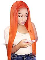 Недорогие -Синтетические кружевные передние парики Прямой Стиль Средняя часть Лента спереди Парик Розовый Оранжевый Искусственные волосы 18-26 дюймовый Жен. Регулируется Жаропрочная Для вечеринок Розовый Парик